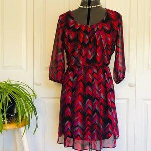 3/4 Sleeve Elastic Waisted Dress